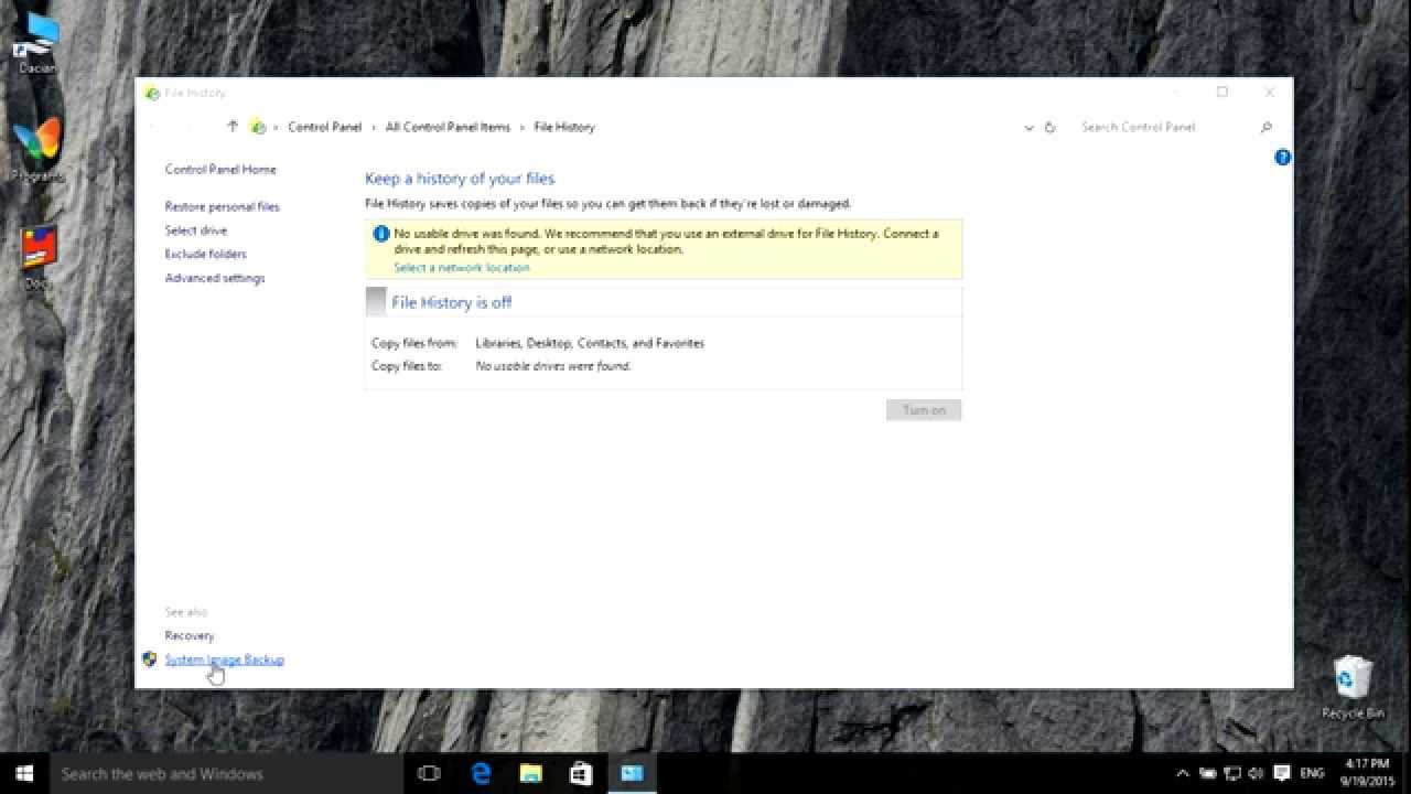 How To Create/ Restore /delete A System Image In Windows