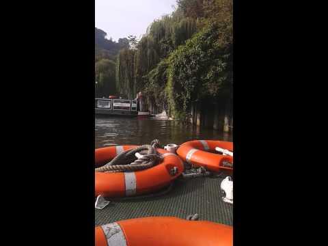 Prunella Scales Tim West filming a boat trip in Ba