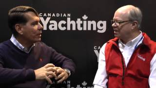 Ron Huibers of Volvo-Penta with Canadian Yachting magazine's Andy Adams