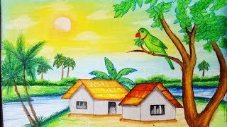 landscape drawing easy draw step pastel simple drawings oil scenery nature paintings very steps colours