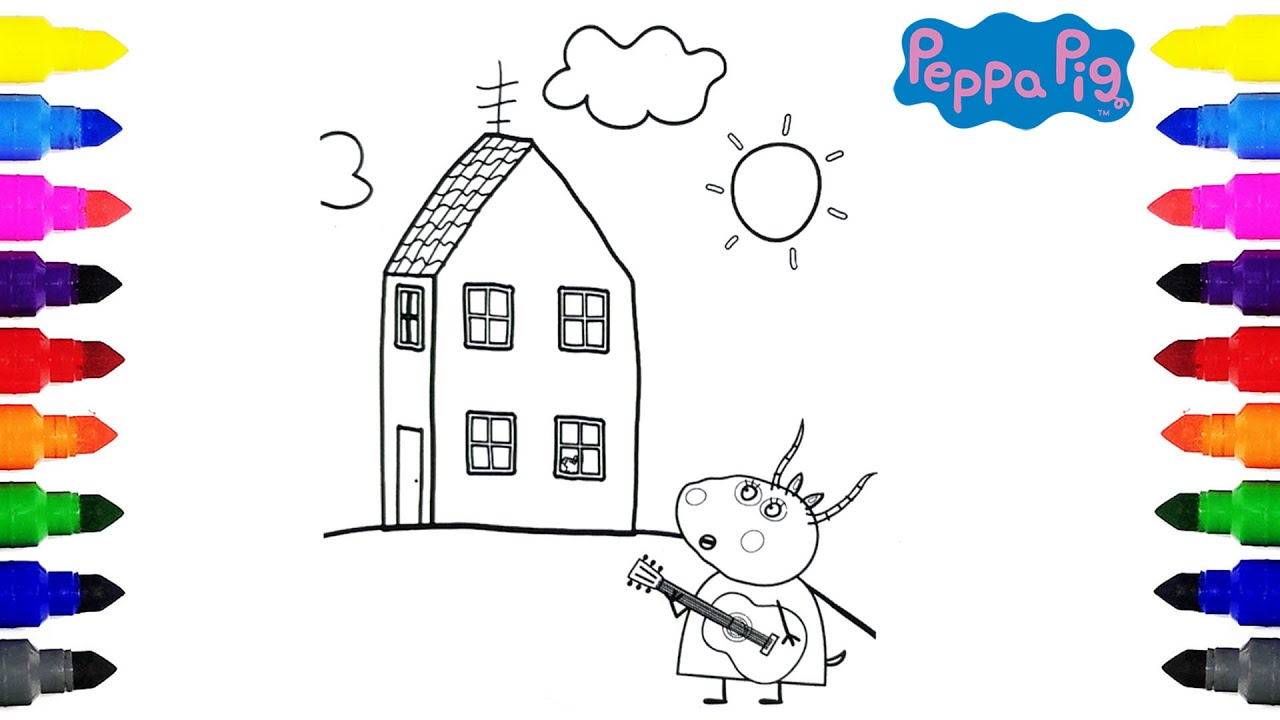 Peppa Pig Madam Gazelle Playing Guitar Coloring for Kids - YouTube