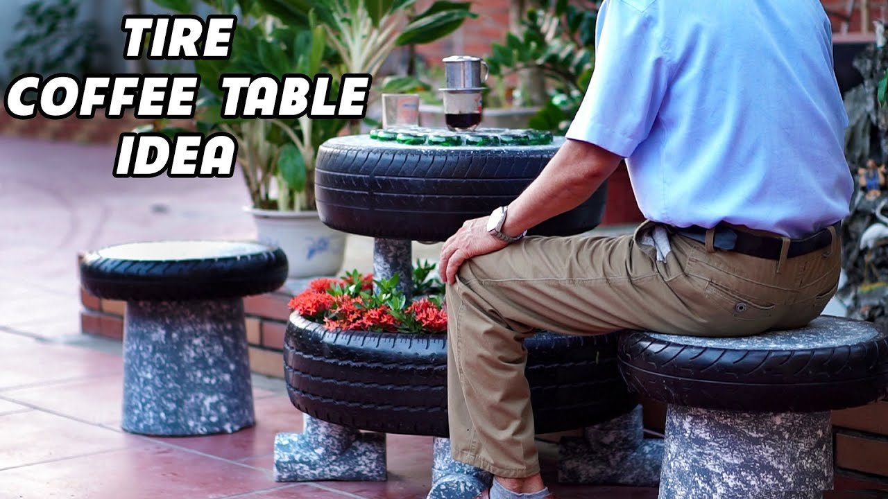 Recycle Tire and Glass Bottle from Landfill into Unique Cement Coffee Table with LED light!