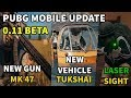 NEW PUBG MOBILE 0.11 BETA NEW FEATURES GOING TO ADD | MK 47, Tukshai ,Laser Sight (coming Soon)