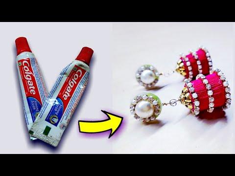 टुथपेस्ट के खाली पॅकेट्स से बनाये सुंदर झुमके||how to make earrings||best out of waste