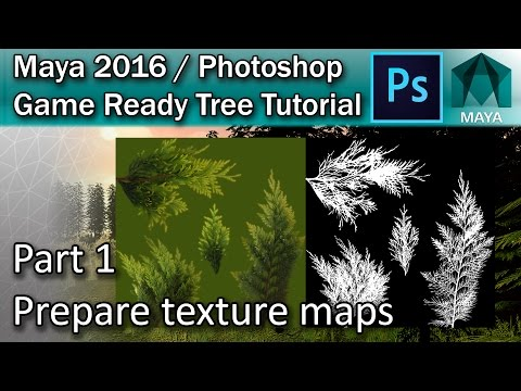 #1 Creating diffuse and transparency maps for a tree in Maya | Maya Tree Tutorial