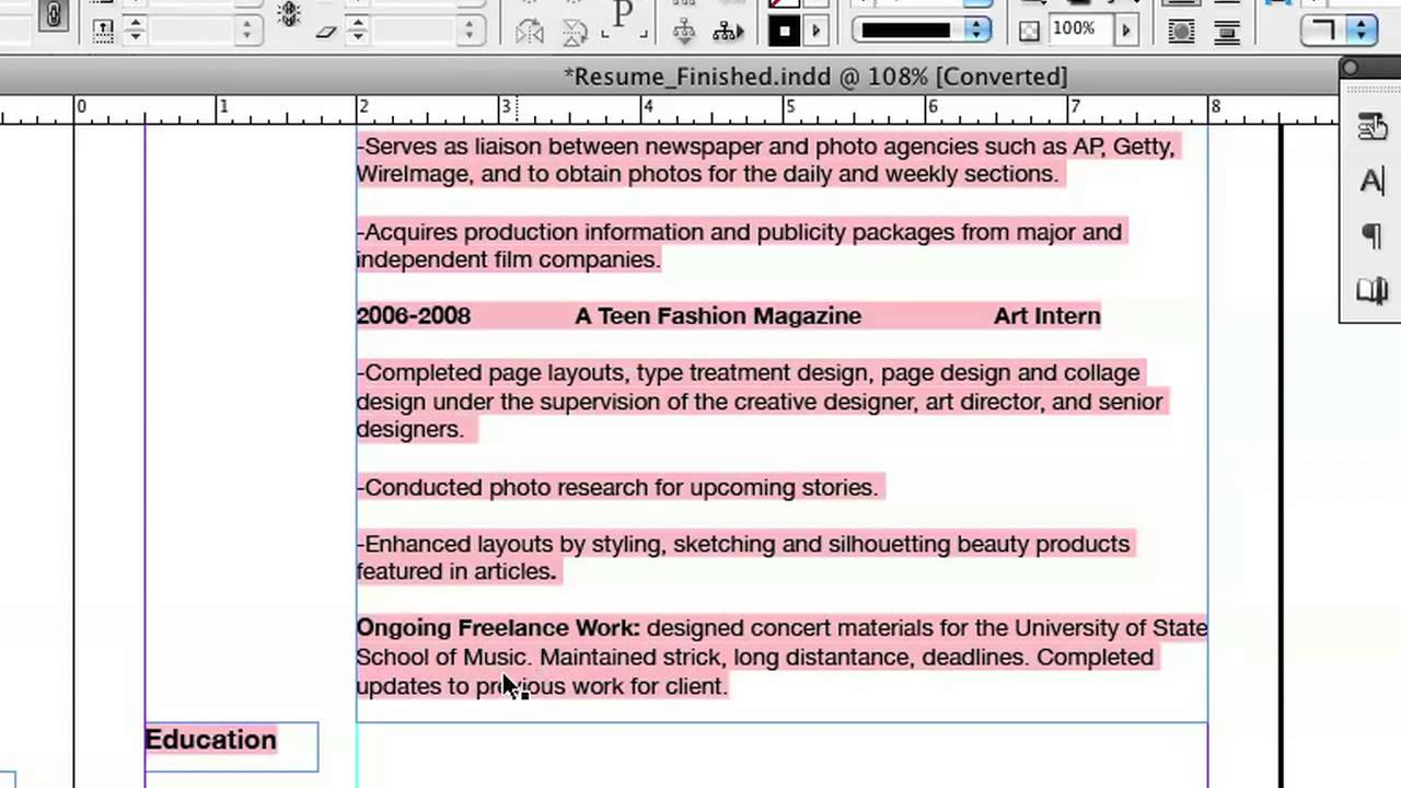 Doing Your Resume In InDesign : InDesign U0026 Graphics   YouTube