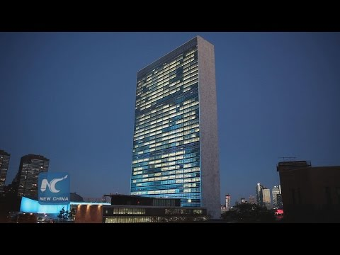 United Nations Headquarters in New York lit up in blue to mark UN70
