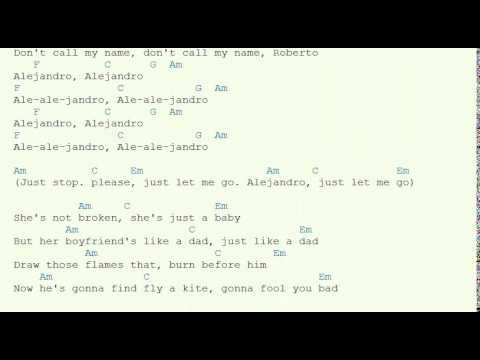 Lady Gaga alejandro guitar chords - YouTube