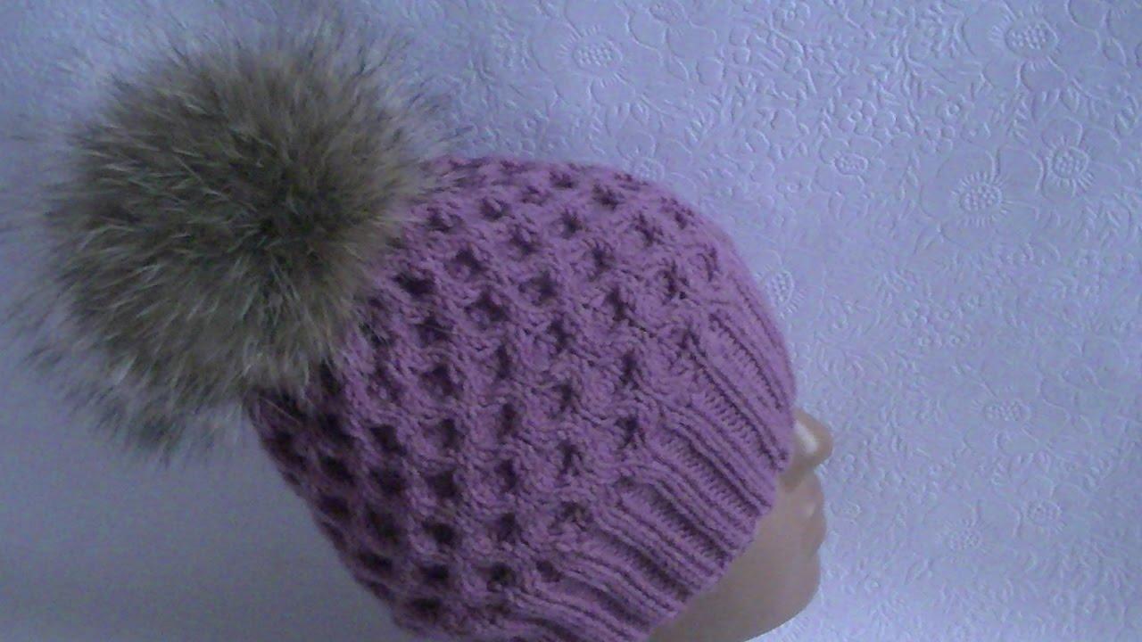 caa3294ef9f Hand-knitting of a honeycomb hat - YouTube