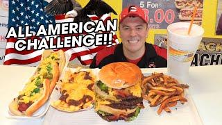All American Burger Challenge w/ Footlong Hot Dog and Milkshake!!