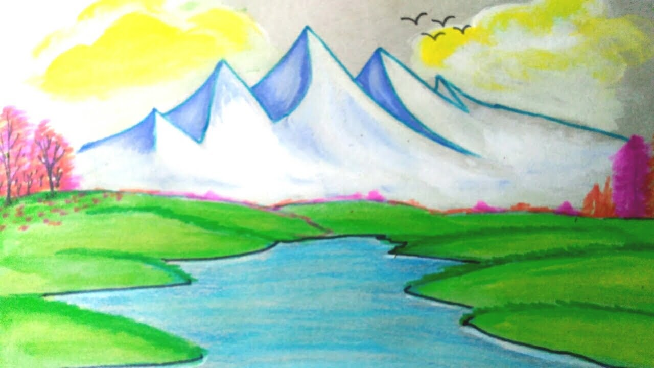 Watercolor How To Draw Scenery Mountain Drawing Of Nature Water Color Painting