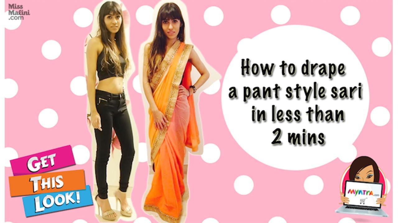 How To Drape Pant Style Saree Youtube