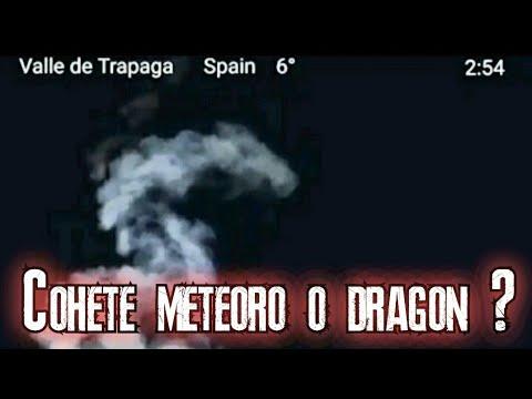 Ovni cohete meteoro alien o dragón grabado en España, misteriosa aparición