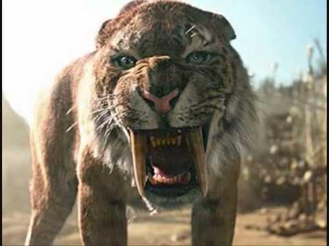 Spinosaur,vs Wooly Mammoth, Vs 3 Saber Tooth Tiger