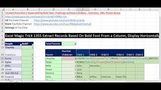Excel Magic Trick 1355 Extract Data at each Bold Font, Display Horizontally: GET.CELL Macro Function