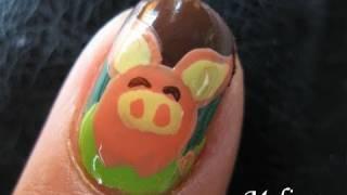 Animal Print Nail Art Tutorial - Bat Pig Cute Design For Short Nails Hand Painted Diy Home Made