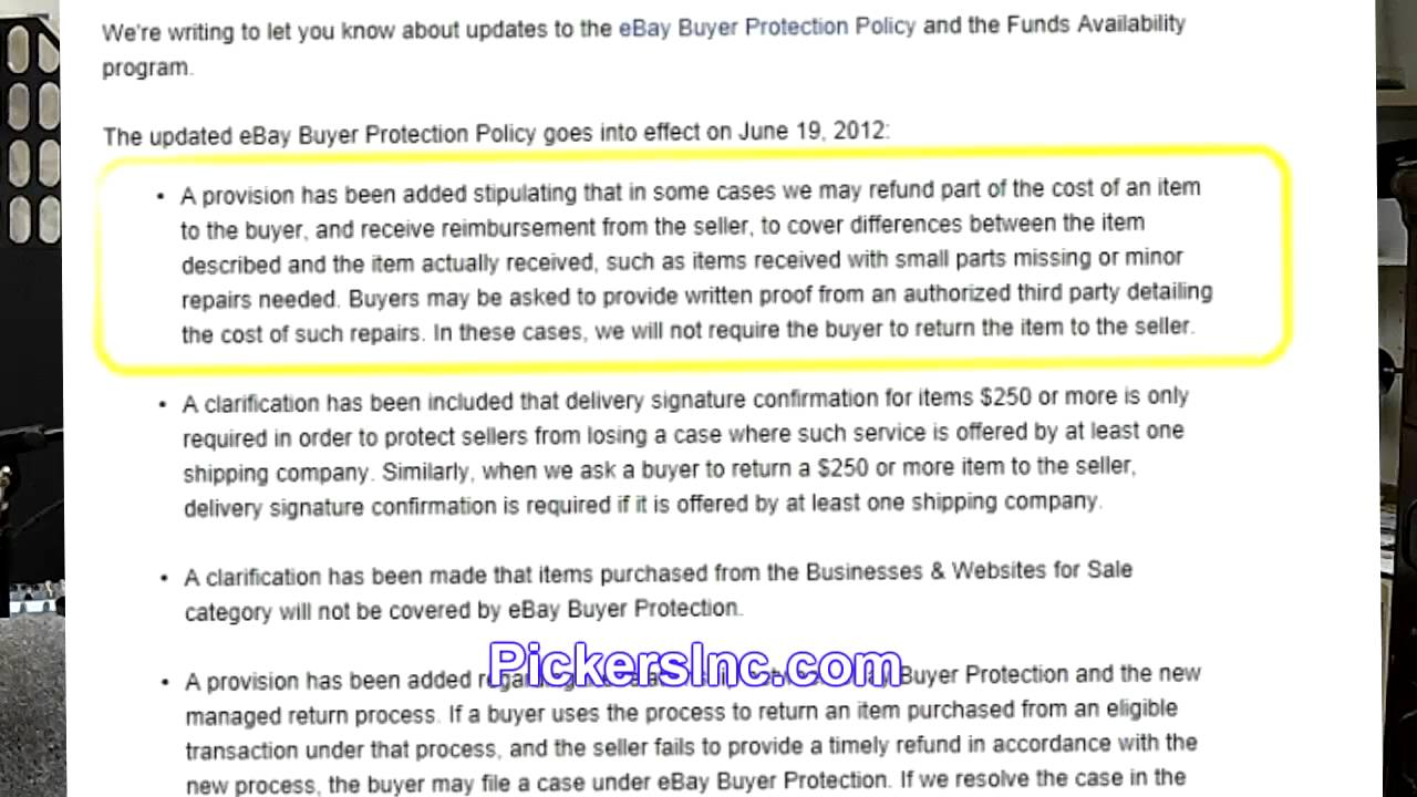 Returns Ebay Spring 2012 Buyer Protection Update Policy Refunds And Buyers Keep Your Item Youtube