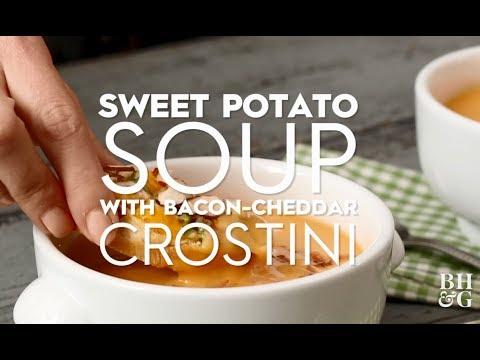 Sweet Potato Soup With Bacon-Cheddar Crostini