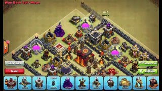 Clash of Clans Layouts - Town Hall 10 War Base Layout 117 (Jasmine) with 275 Walls