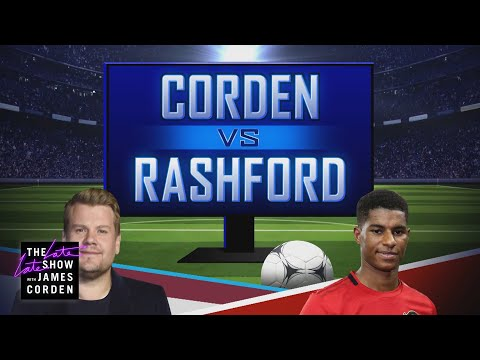 Marcus Rashford & James Corden Link Up for a Match