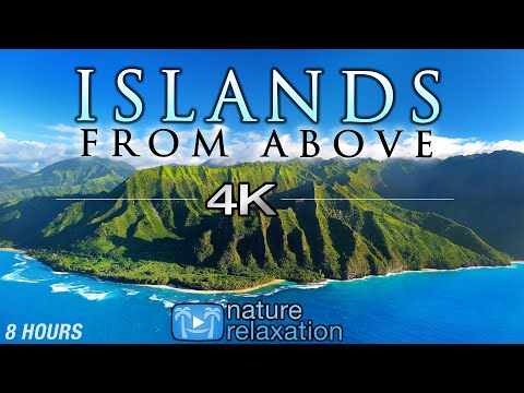 """8 HOUR DRONE FILM: """"Islands From Above"""" 4K + Music by Nature Relaxation™ (Ambient AppleTV Style)"""