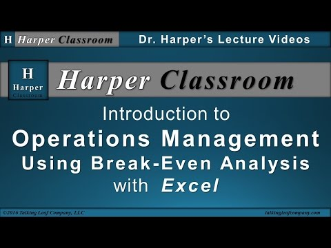 Operations Management-Break Even Analysis-with Excel | Harper Classroom