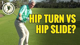 GOLF DOWNSWING LESSON:  HIP TURN VS GOLF HIP SLIDE - WHICH IS RIGHT?