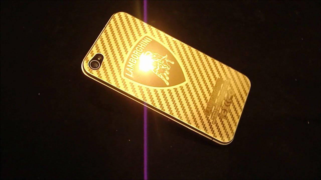 real 24k gold plated iphone 4 rear lamborghini logo