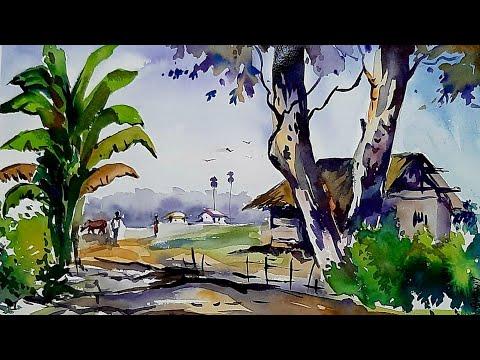 Watercolor Landscape Painting By Surajit Dey Assam India   Easy Watercolor Landscape Painting