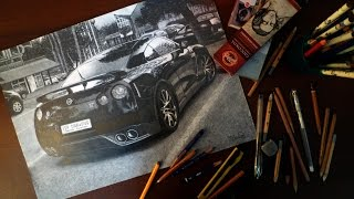 NISSAN GT-R REALISTIC DRAWING ISP 2014 SUPERCAR