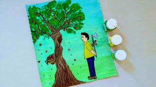 How to draw Save trees Poster drawing for School students drawing for kids School project ideas