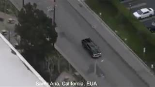 Video recording from a police helicopter of a car thief in Los Angeles, the most incredible driving