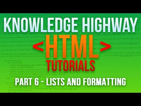 How to program in HTML #6 - List and Formatting
