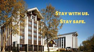 Stay with us. Stay safe. Оставайтесь с нами. Оставайтесь в безопасности.