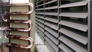 Батарея узких солнечных коллекторов, как жалюзи, ламели, забор и т.п.
