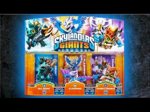 Skylanders Giants - Double Trouble, Flashwing & Gill Grunt Unboxing (Triple - Pack)