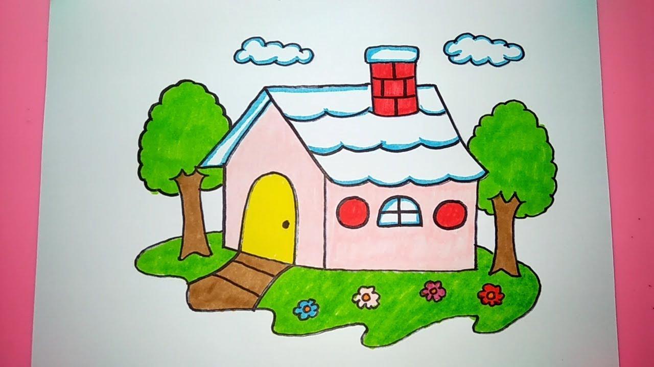 Cara Menggambar Dan Mewarnai Rumah Cantik Mungil