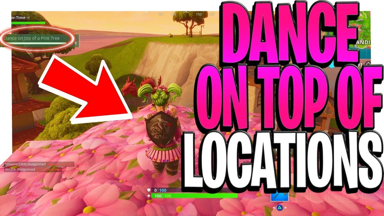Dance On Top Of Challenge Fortnite Clock Tower Pink Tree And