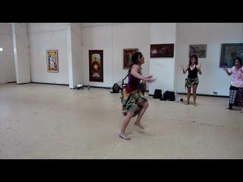 Dance school Dakar Senegal Laura doing sabar routine