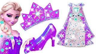 ❄️ Play Doh Making Colorful Sparkle ✨ Disney Princess Frozen Elsa Dress High Heels Crown Castle Toys