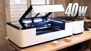 Adam tries a 40w CO2 Laser-Cutter!  Makeblock Laserbox REVIEW