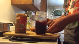 Hot Dog Bun Peanut Butter And Jelly Sandwich(shamwow Style)