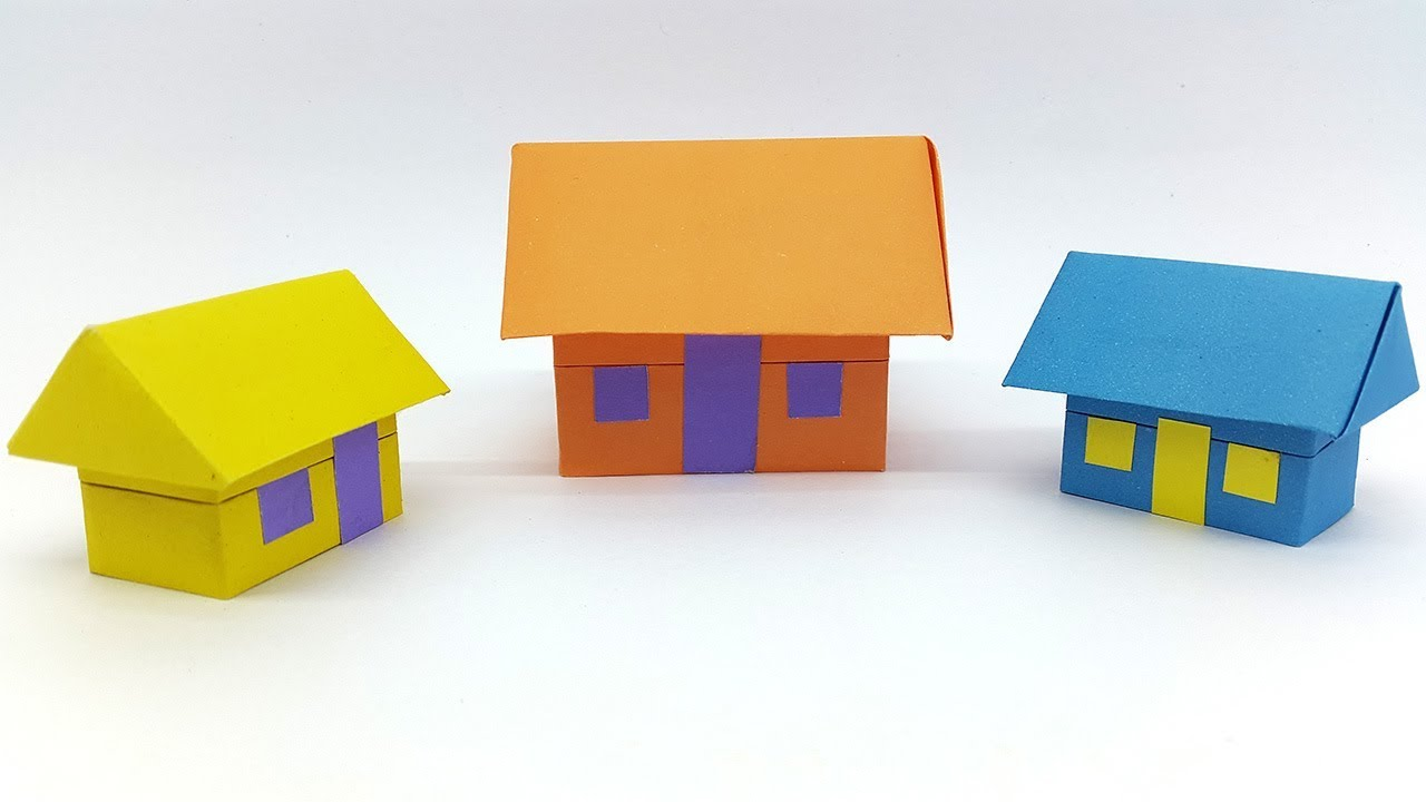 Paper house 3d how to make an origami house easy step by for Build a 3d house online