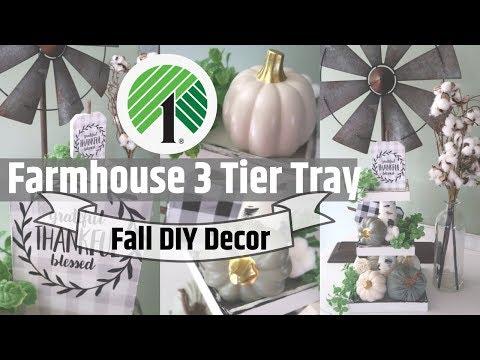 DIY FARMHOUSE DECOR 3 TIER TRAY | DOLLAR TREE DIY | DOLLAR TREE FALL DECOR | FALL INTO INSPIRATION