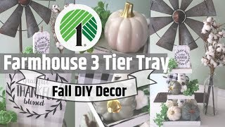 DIY FARMHOUSE DECOR 3 TIER TRAY | DOLLAR TREE DIY | DOLLAR TREE FALL DECOR | FALL INTO INSPIRATION