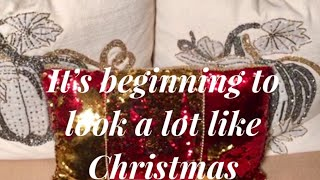 Dollar Tree DIY Room Decor Christmas Pillow It's Beginning To Look A Lot Like Christmas 2018