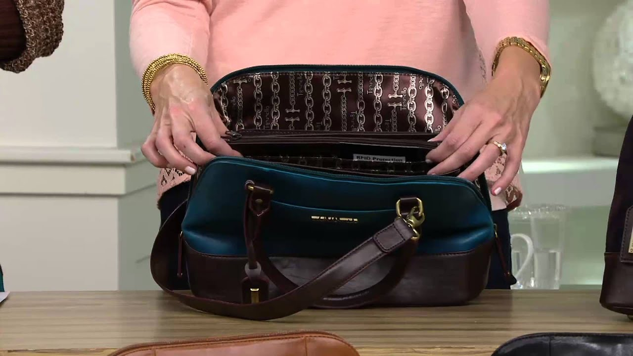 Tignanello Glazed Vintage Leather Rfid Domed Satchel On Qvc