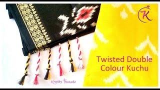 Latest Twisted Saree Kuchu Design | Trendy Double Colour Kuchu for Saree | www.knottythreadz.com