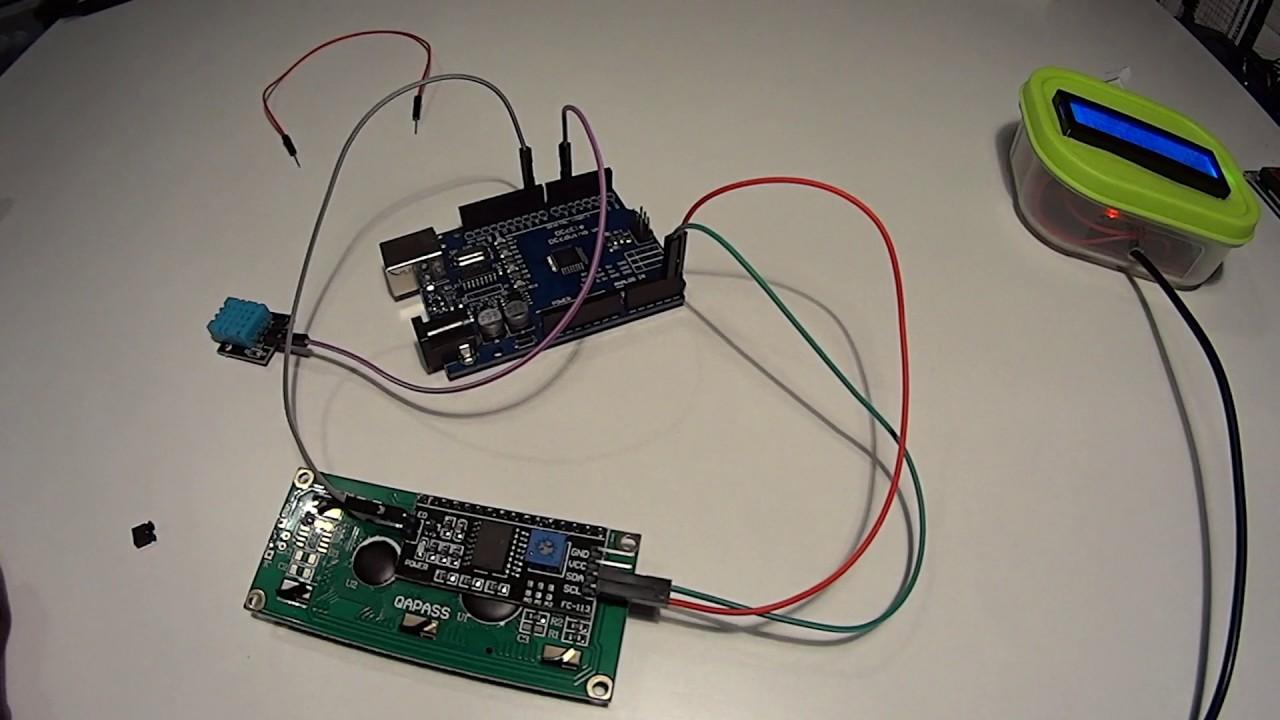 Как подключить DHT11 DHT22 к ардуино и вывести через I2C дисплей 16х2