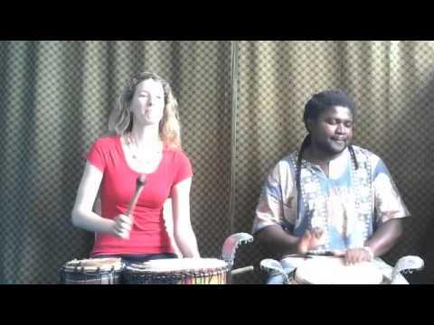 Juma Drums jamming on the djembe and bass drum - Dingiswayo Juma and Charlotte